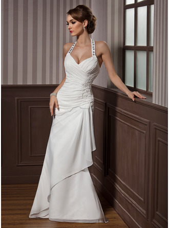 Sheathcolumn halter floor length chiffon satin wedding dress with sheathcolumn halter floor length chiffon satin wedding dress with beading appliques lace sequins cascading ruffles 002012582 wedding dresses jjshouse junglespirit Choice Image