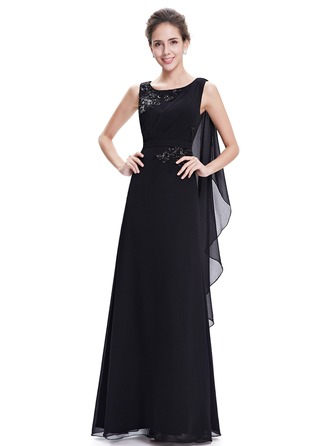 Polyester/Satin/Silk Blend mit Pailletten/Applikationen Maxi Kleid