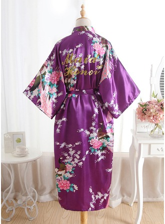 Silk Bridesmaid Floral Robes Glitter Print Robes