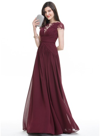 A-Line/Princess Scoop Neck Floor-Length Chiffon Evening Dress With Ruffle Lace