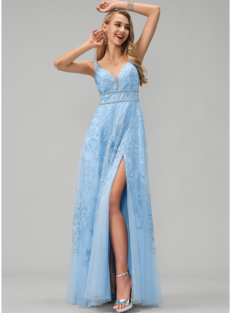 V-neck Floor-Length Tulle Prom Dresses With Lace Beading Sequins