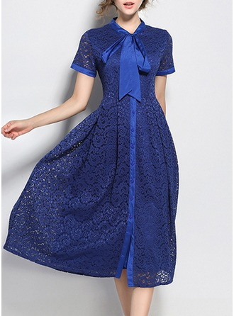 Lace With Lace/Jacquard/Hollow/See-through Look Midi Dress