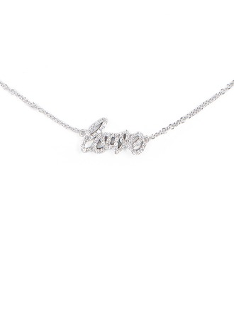 Silver LOVE Meaning Pendant Necklace For Women For Girlfriend For Girl