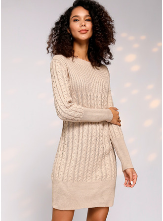 Cable-knit Chunky knit Solid Polyester Round Neck Pullovers Sweater Dresses Sweaters