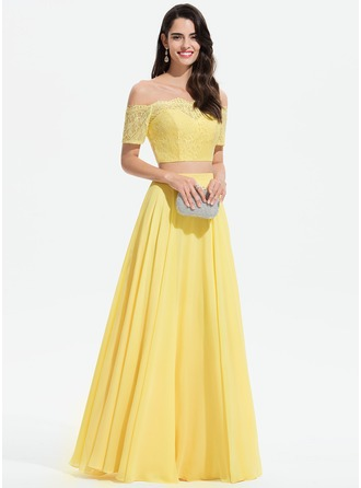 Off-the-Shoulder Floor-Length Chiffon Prom Dresses With Lace