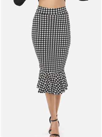 Cotton Plaid Knee Length Pencil Skirts