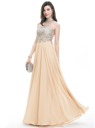 A-Line/Princess Scoop Neck High Neck Floor-Length Chiffon Prom Dress With Beading Sequins