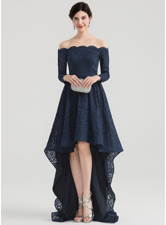 Off-the-Shoulder Asymmetrical Lace Evening Dress