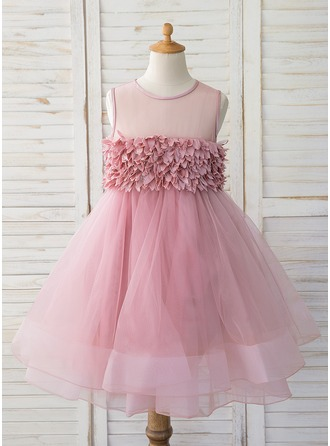 Knee-length Flower Girl Dress - Tulle Sleeveless Scoop Neck