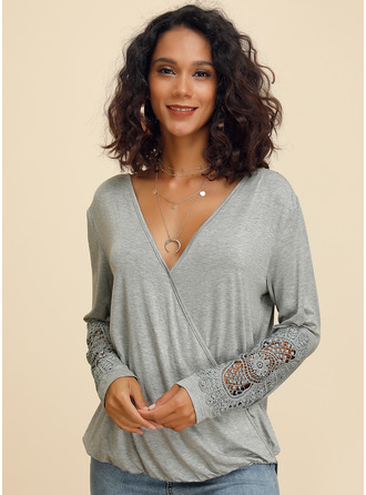 Long Sleeves Cotton V Neck Ticot Bluzlar