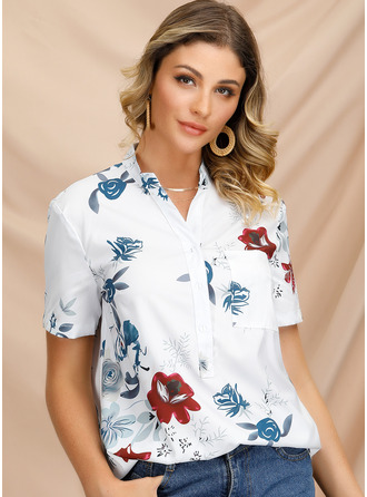 Short Sleeves Polyester V Neck Bluzlar