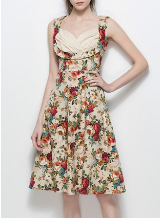 Cotton With Stitching/Crumple Above Knee Dress