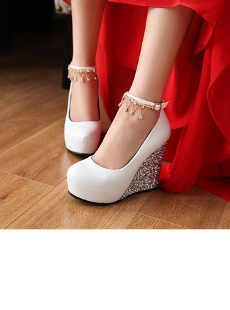 Women's Leatherette Sparkling Glitter Wedge Heel Closed Toe Pumps Wedges With Buckle Rhinestone