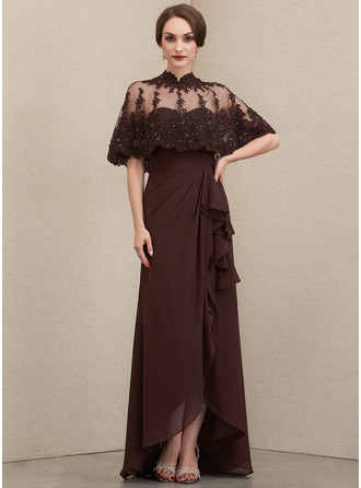 Sweetheart Asymmetrical Chiffon Mother of the Bride Dress With Cascading Ruffles