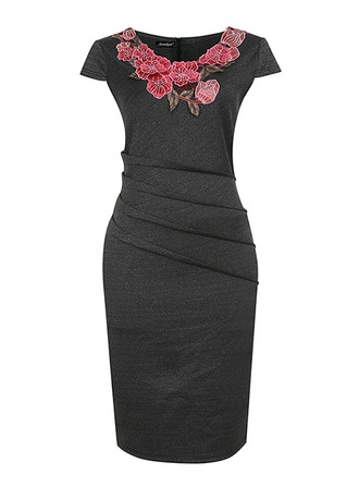 Polyester/Spandex With Embroidery Knee Length Dress