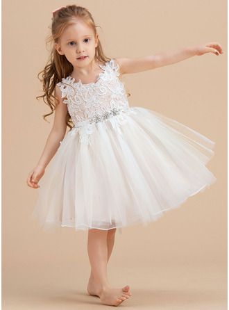 A-Line Knee-length Flower Girl Dress - Tulle/Lace Sleeveless V-neck/Straps With Rhinestone