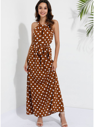 Polyester/Cotton Blends With Print/PolkaDot Maxi Dress