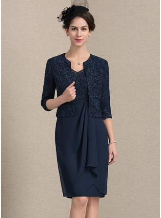 Sheath/Column V-neck Knee-Length Chiffon Lace Mother of the Bride Dress With Beading Cascading Ruffles