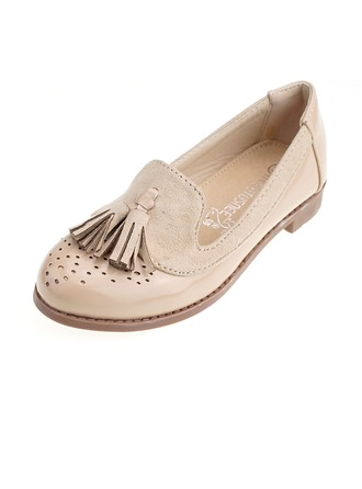 Girl's Closed Toe Loafers & Slip-Ons Leatherette Flat Heel Flats With Tassel