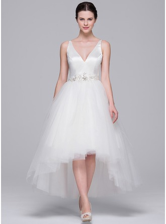A-Line/Princess V-neck Asymmetrical Satin Tulle Wedding Dress With Beading Appliques Lace Sequins