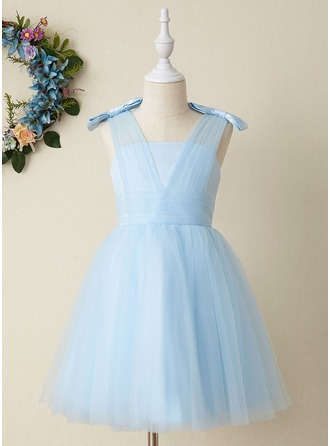 Knee-length Flower Girl Dress - Tulle Sleeveless Strapless With Bow(s)
