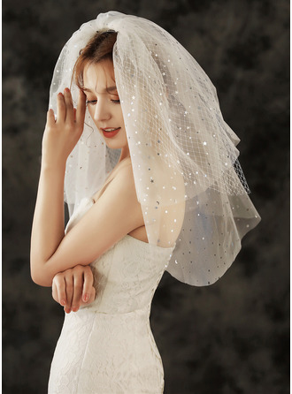 Three-tier Cut Edge Shoulder Veils With Rhinestones