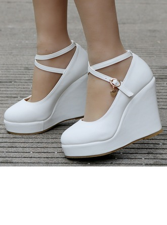 Women's Leatherette Wedge Heel Closed Toe Platform Pumps Wedges