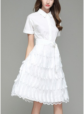 Organza With Bowknot/Stitching/Embroidery Knee Length Dress