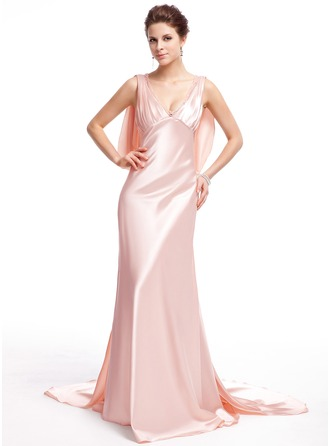 Trumpet/Mermaid V-neck Watteau Train Charmeuse Evening Dress With Beading