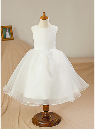 Knee-length Flower Girl Dress - Satin Tulle Sleeveless Scoop Neck