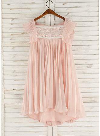 Asymmetrical Flower Girl Dress - Chiffon Lace Sleeveless Square Neckline With Beading