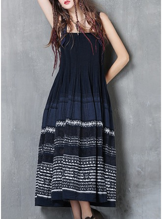 Cotton With Stitching/Embroidery/Crumple Maxi Dress