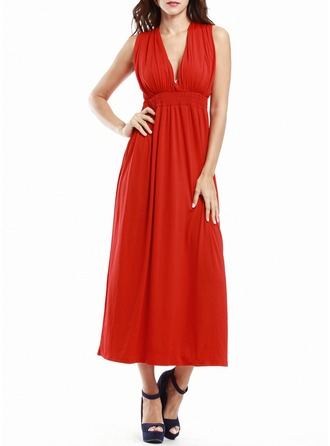 Polyester With Stitching Midi Dress