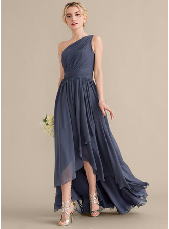 One-Shoulder Asymmetrical Chiffon Bridesmaid Dress With Cascading Ruffles
