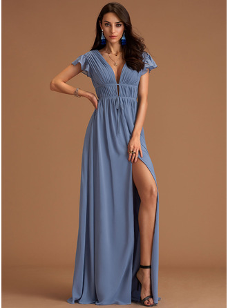 V-Neck Short Sleeves Maxi Dresses