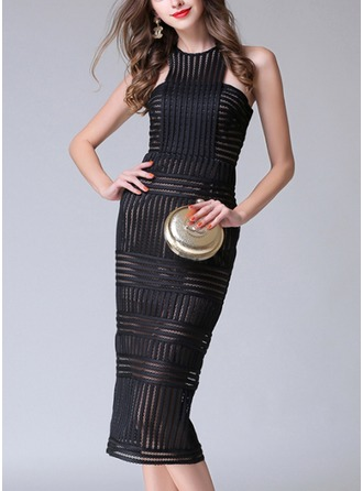 Polyester With Stitching/Knurling Midi Dress