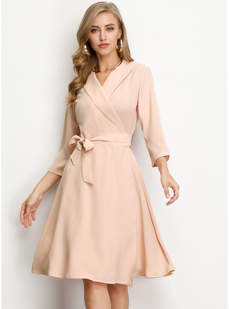 Polyester With Bowknot Knee Length Dress
