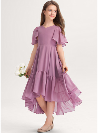 V-neck Asymmetrical Chiffon Junior Bridesmaid Dress With Cascading Ruffles