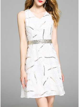 With Sequins/Stitching/Hollow Above Knee Dress