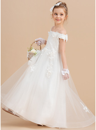 Ball-Gown/Princess Sweep Train Flower Girl Dress - Tulle Lace Sleeveless Off-the-Shoulder With Flower(s)