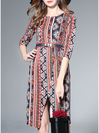 Polyester/Cotton/Spandex With Print Knee Length Dress