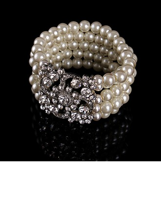 Chic Alloy Rhinestones With Imitation Pearl Rhinestone Ladies' Fashion Bracelets