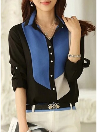 Color Block Long Sleeves Chiffon Lapel Shirt Blouses Blouses
