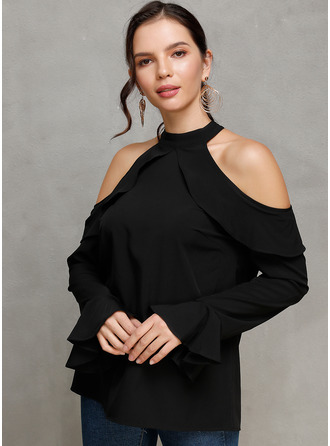 Long Sleeves Mânecă Evazate Polyester Cold Shoulder Ticot Bluzlar
