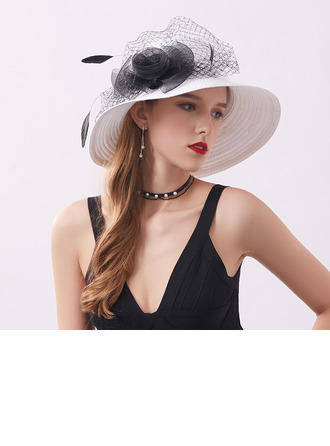 Ladies' Classic/Pretty Satin With Imitation Pearls Beach/Sun Hats/Kentucky Derby Hats/Tea Party Hats