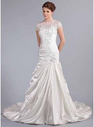 Trumpet/Mermaid Scoop Neck Cathedral Train Satin Wedding Dress With Ruffle Lace Beading Sequins