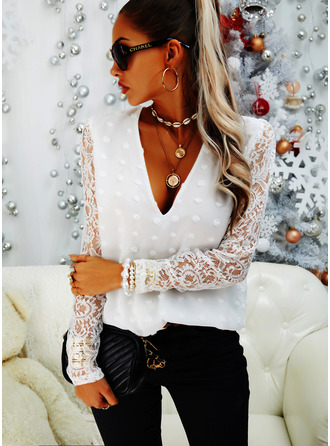 Regular Cotton Blends Lace V-Neck Lace Solid Fitted Blouses