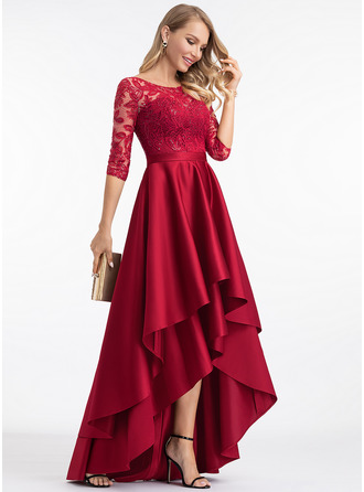 Scoop Neck Asymmetrical Satin Evening Dress With Sequins