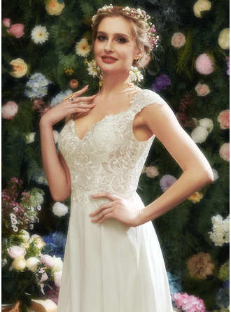 V-neck Floor-Length Wedding Dress With Lace