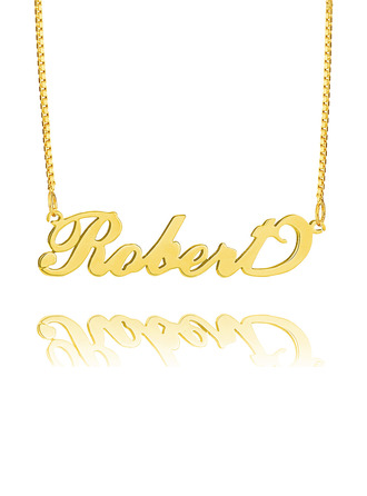 Custom 18k Gold Plated Silver 'Carrie' Style Script Name Necklace -